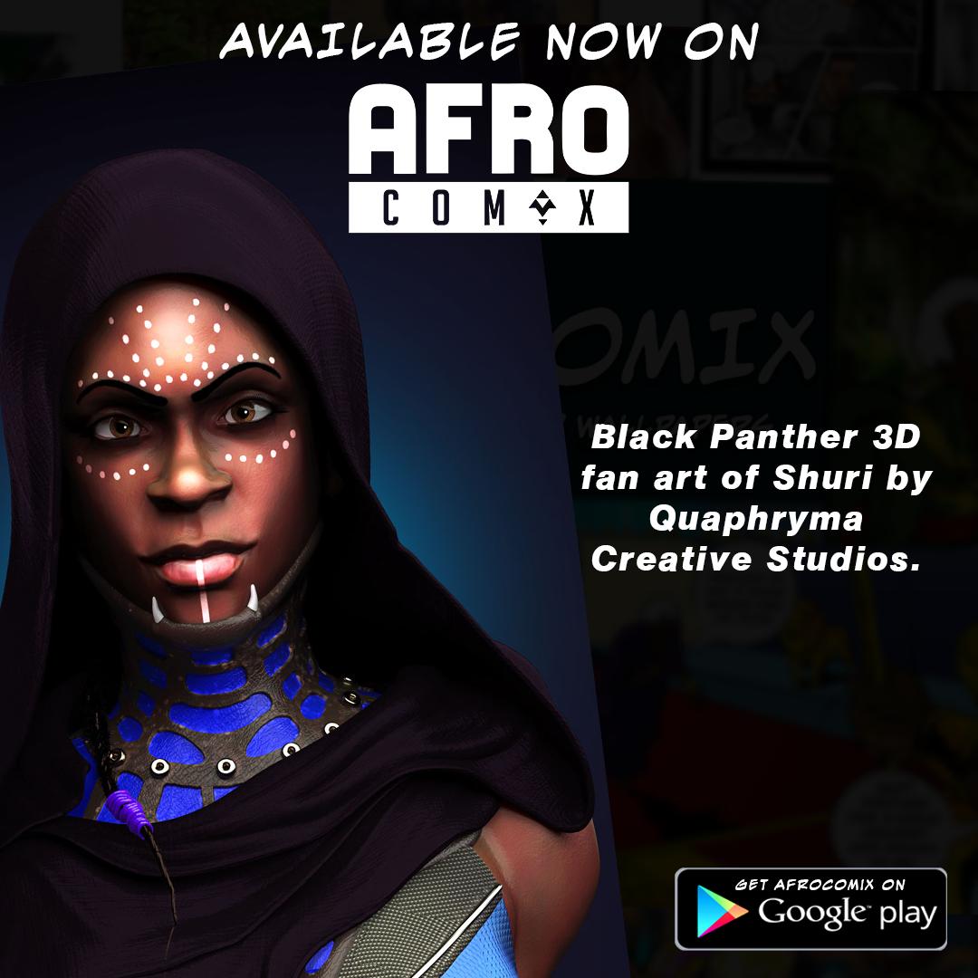 Black Panther 3D fan art of Shury By Quaphryma Creative Studio © Ngnaoussi Elongue