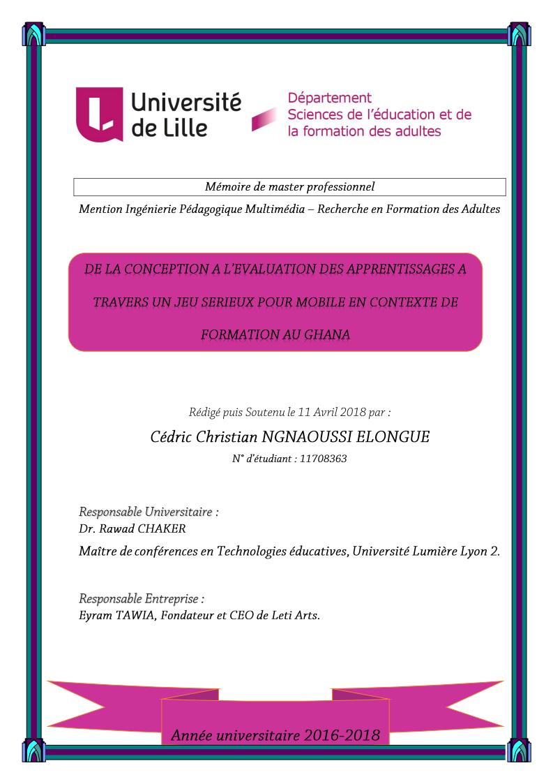 1ère Page de Couverture de mon mémoire de Lille. Credit: Christian Elongué